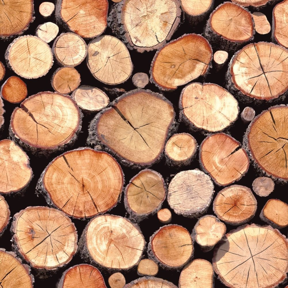 Natural   97710   Rustic Stacked Wood Logs   Holden Decor Wallpaper 1000x1000