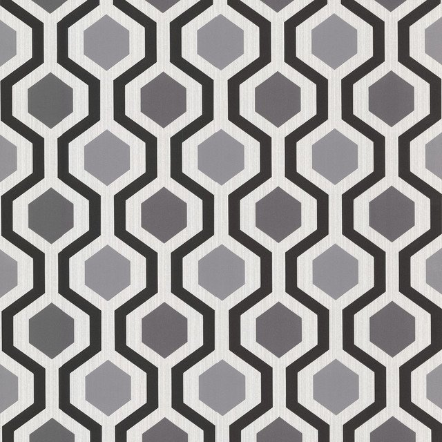 Geometric Black And White Trellis Wallpaper   Contemporary   Wallpaper 640x640