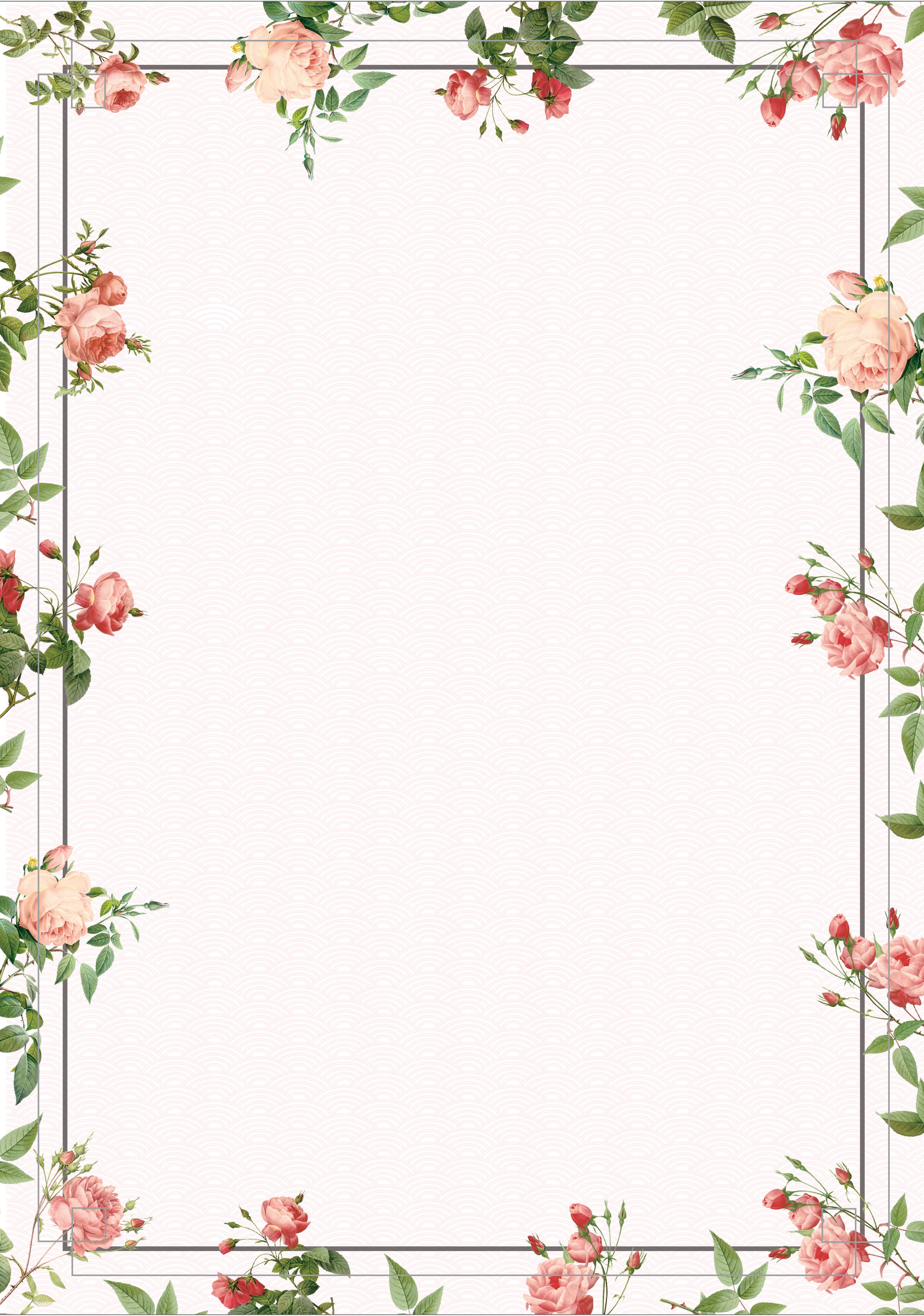 Vintage Posters Flowers Border Background in 2019 Flower picture 3101x4418