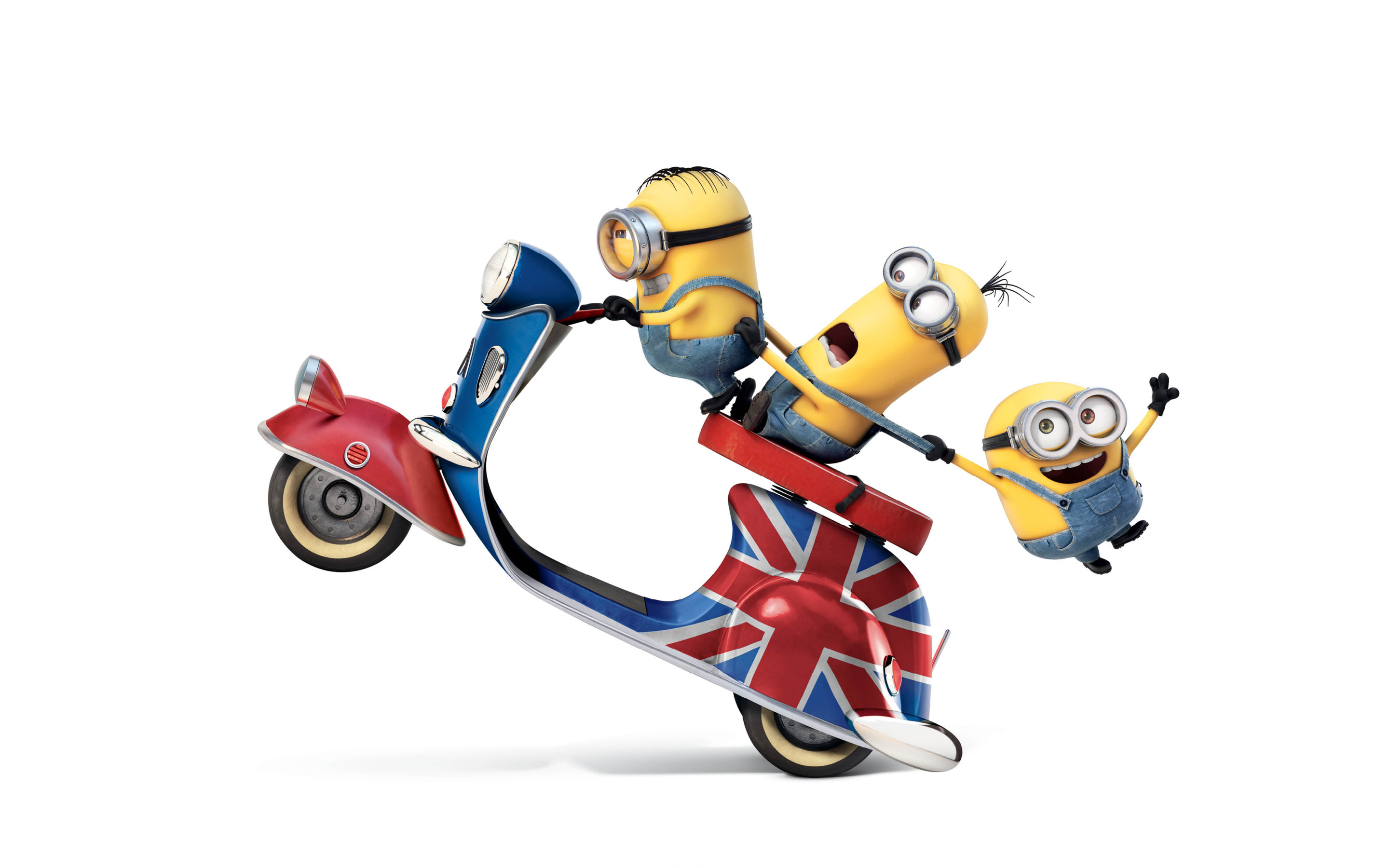 Funny Minions Kevin Stuart Bob Riding UK Flag Vespa Bike