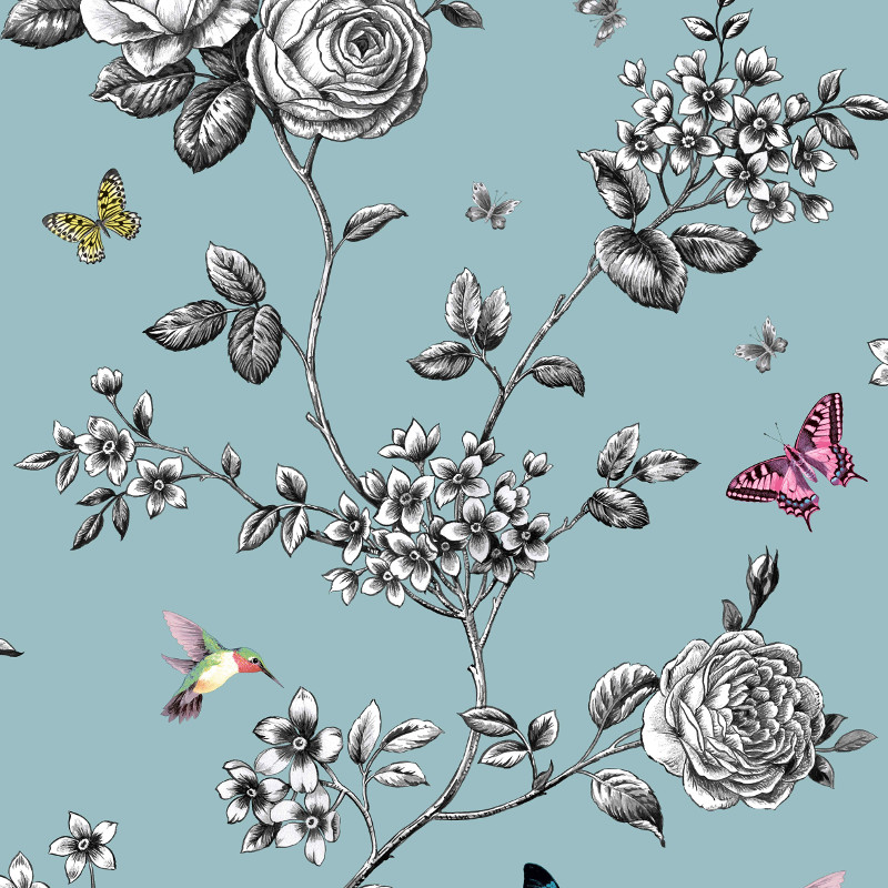 Grandeco Rose Garden Bird and Butterfly Wallpaper in Teal - A14602