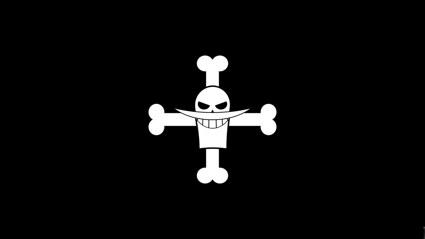 Marco Whitebeard Flag Jolly Roger Dark Black Background 1366x768