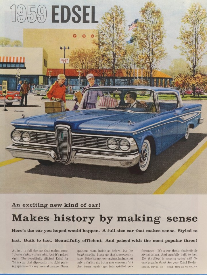 eBlueJay 1959 EDSEL blue four door sedan shopping center 720x959