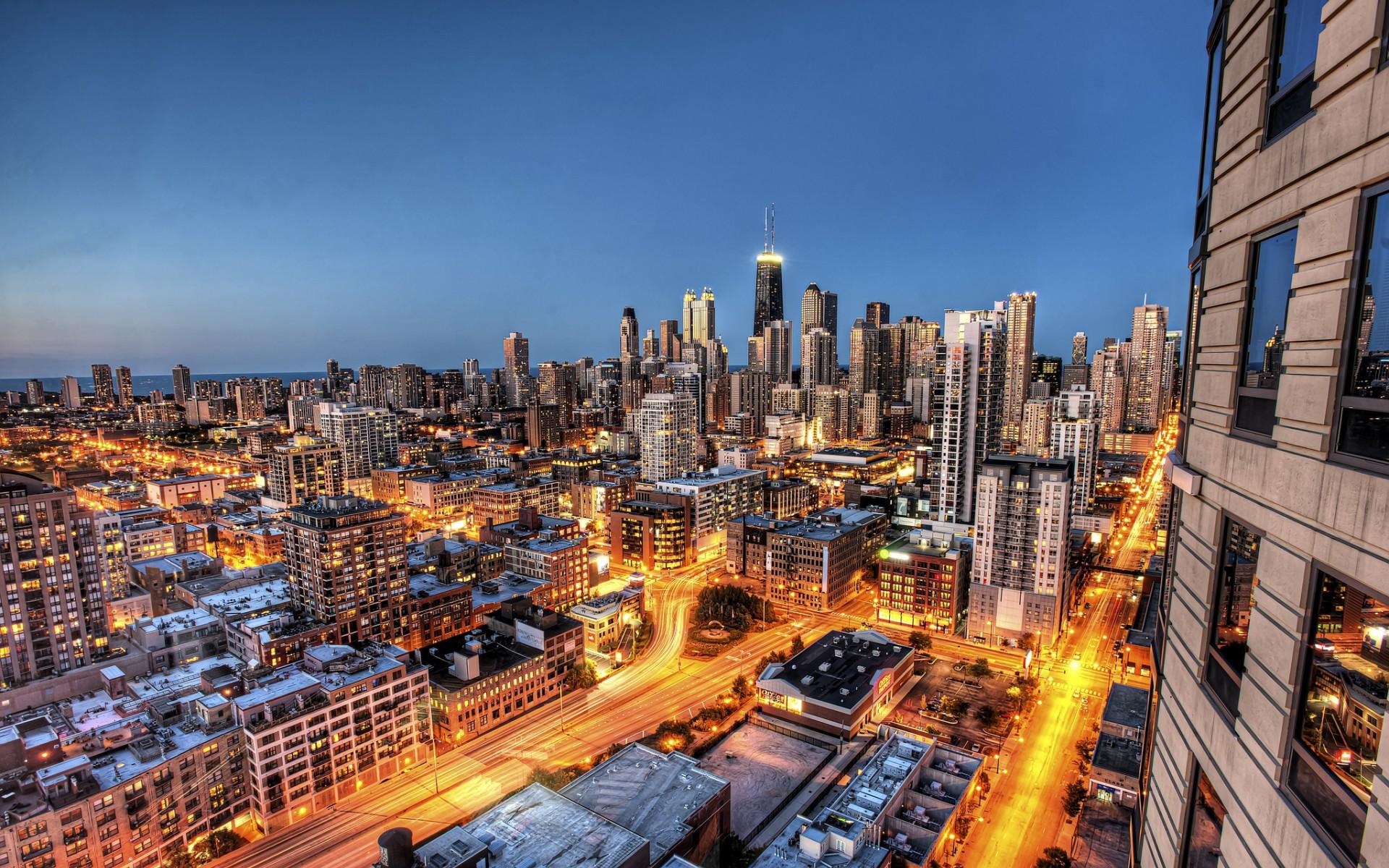 Chicago Illinois city night skyscraper skyscrapers 1920x1200