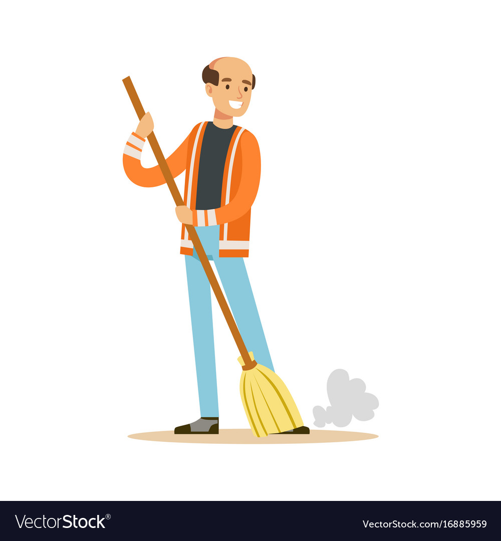 Smiling mature street sweeper at work street Vector Image 1000x1080