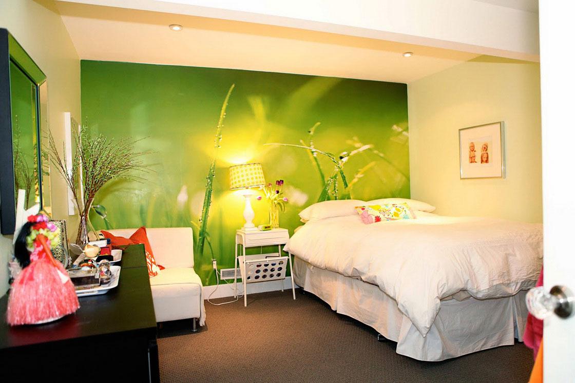 Basement Bedroom Green Wallpaper Design   Decoseecom 1120x747