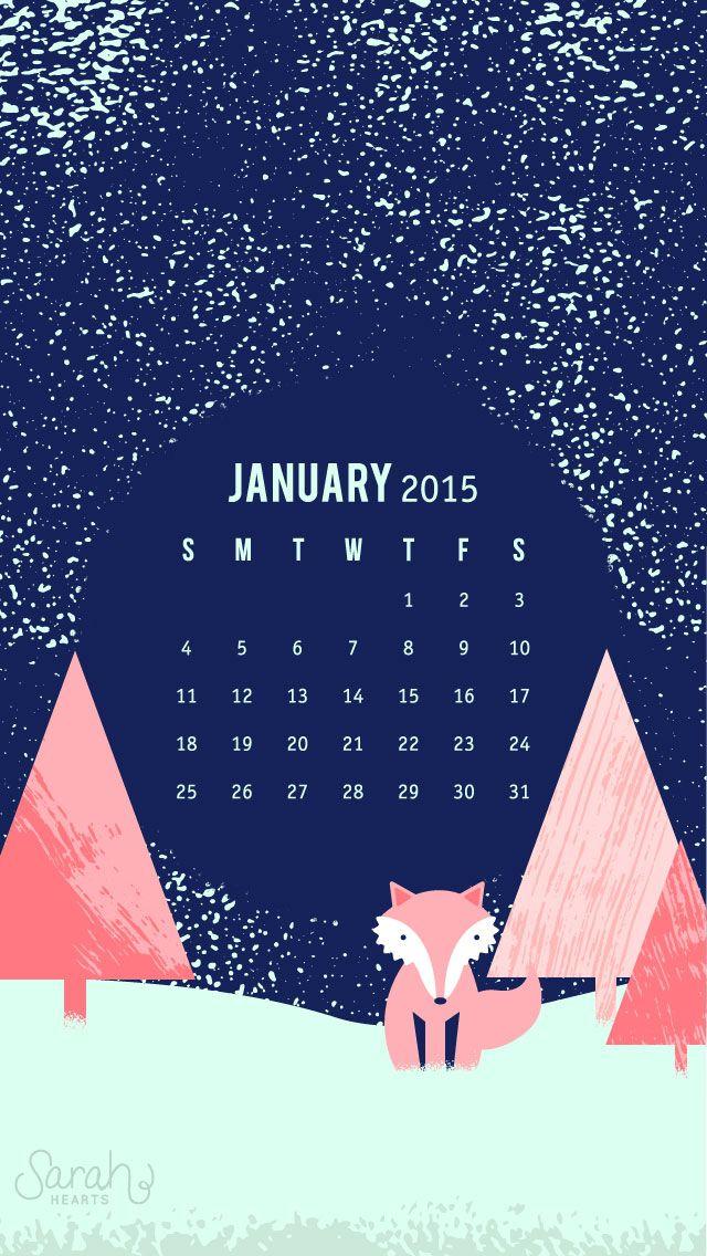 Navy pink snow fox trees january calendar iphone phone wallpaper 640x1136