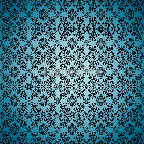 Illustration Of Gothic Seamless Blue Wallpaper Vector Clip Art To 500x500