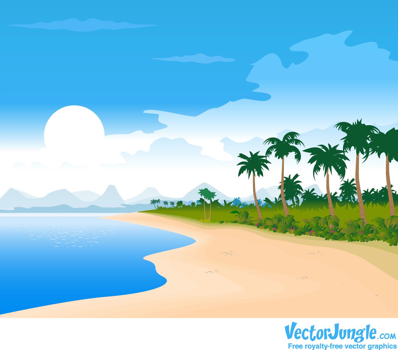 FREE VECTOR BEACH BACKGROUND VectorJungle   Vector Art Vector 1388x1221