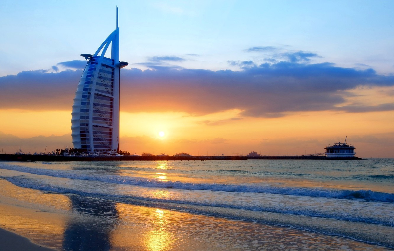 Wallpaper city waves Dubai twilight sky sea landscape 1332x850