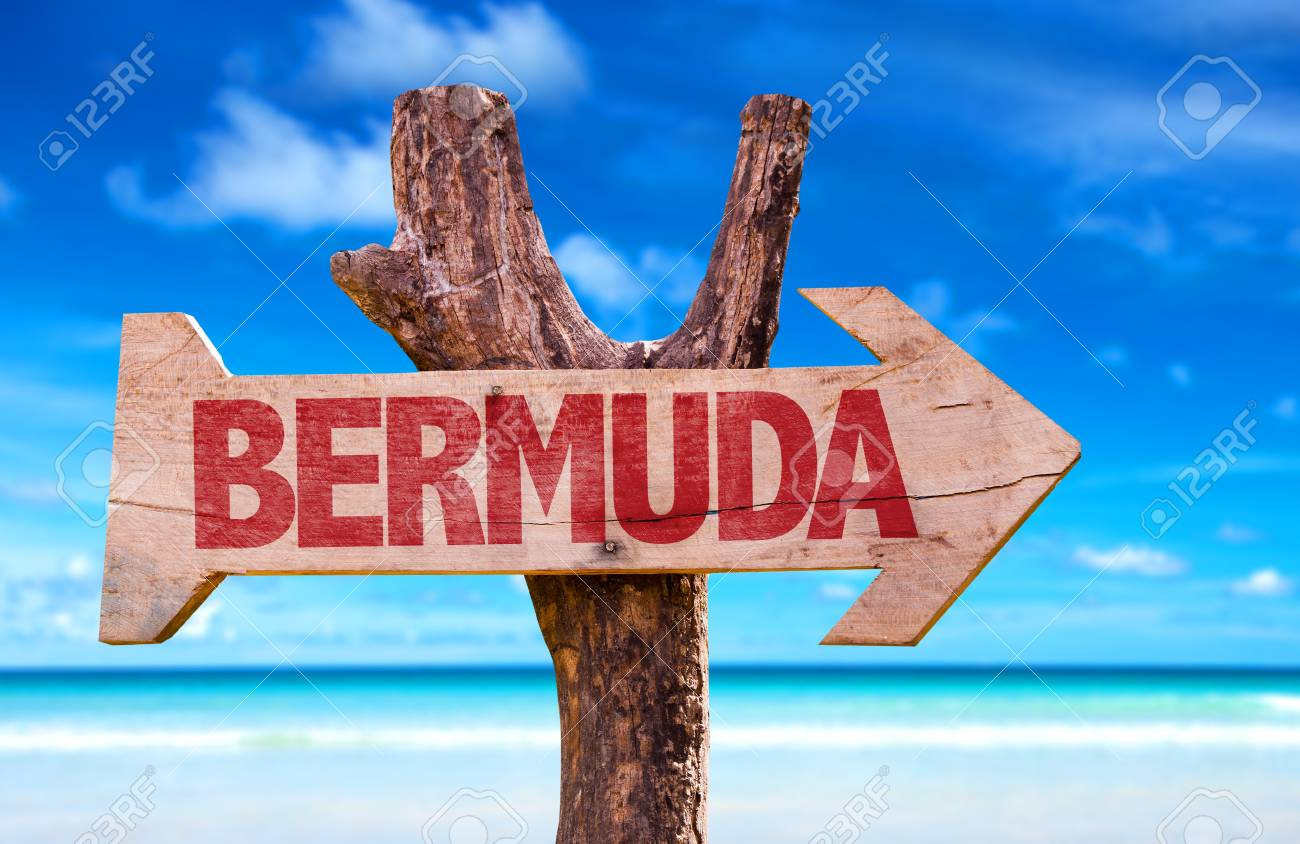 Bermuda Sign With Arrow On Beach Background Stock Photo Picture 1300x844