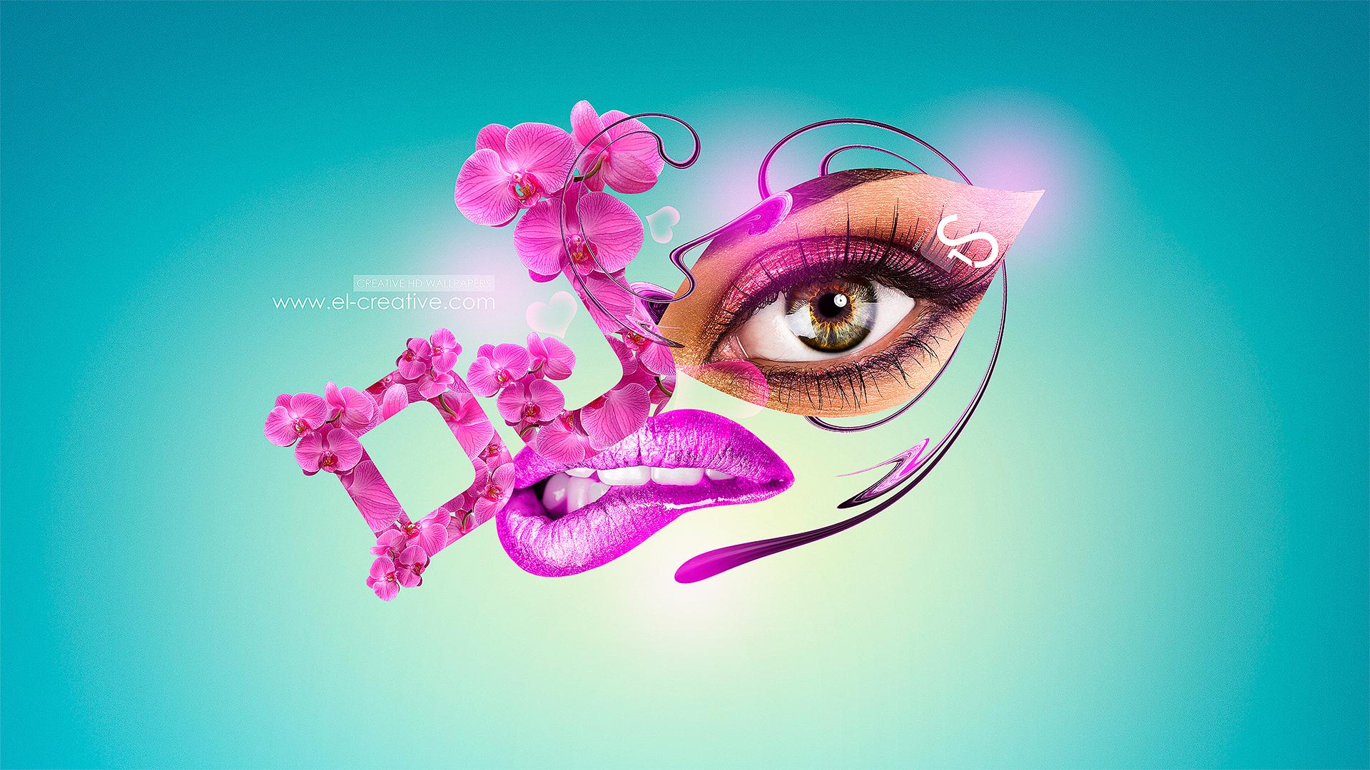 DJ Girl Flowers Metamorphosis 2013 Pink Neon HD Wallpapers design by 1920x1080