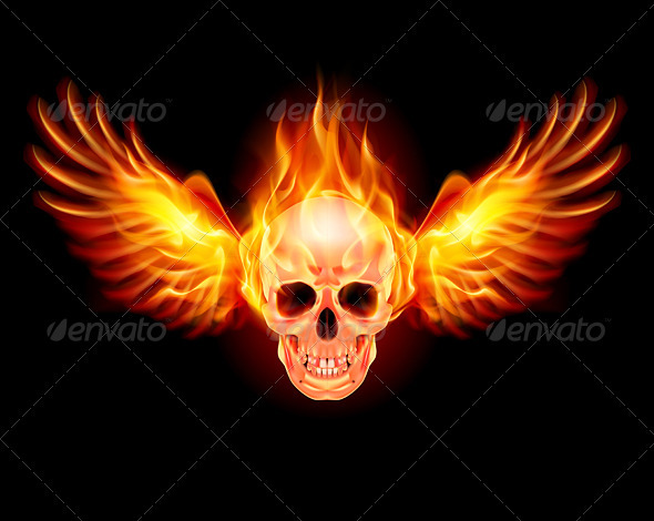 Flaming Skull with Fire Wings Illustration on black 590x470