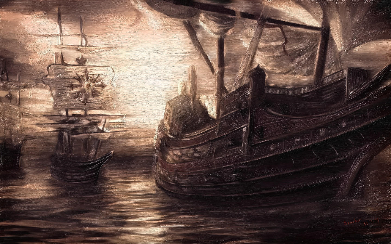 wallpaperpainting watercolor sea wave birds sail ship hd wallpaper 2880x1800