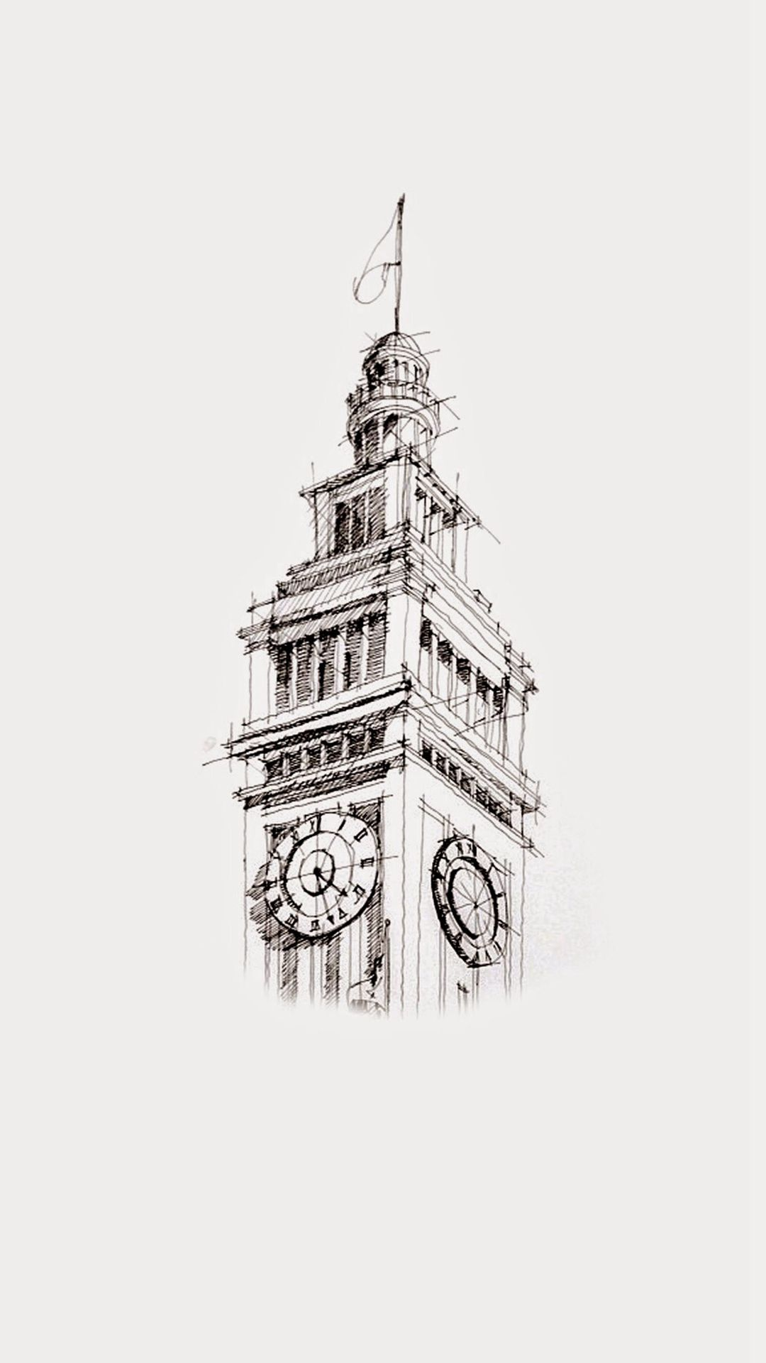 Big Ben Sketch Art Drawn iPhone 6 Wallpaper Download iPhone 1080x1920