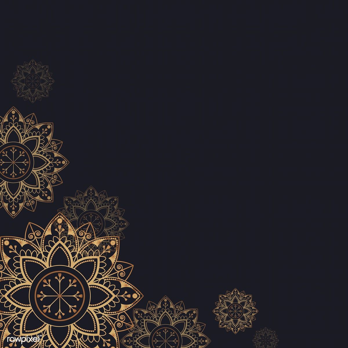 Download premium vector of Gold mandala pattern on black 1200x1200