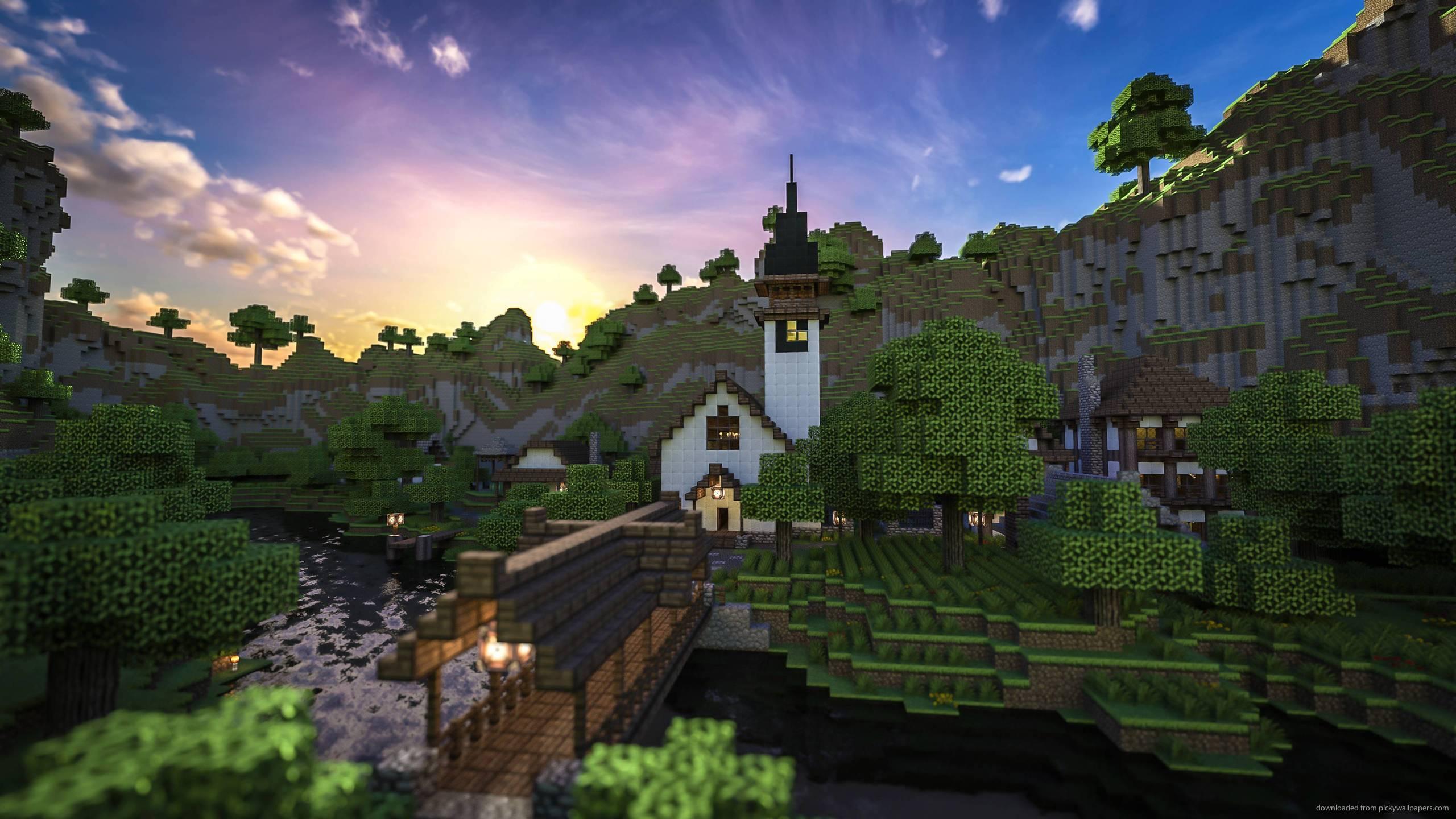 2560x1440 games minecraft minecraft home at sundown wallpaper download 2560x1440