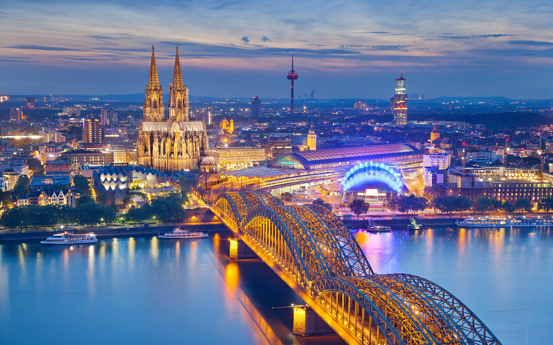 Wallpaper Cologne Germany Cathedral night city houses bridge 1920x1200