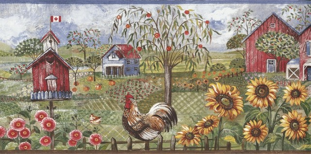 Blue Rooster Farm Wallpaper Border   Traditional   Wallpaper   by 640x318