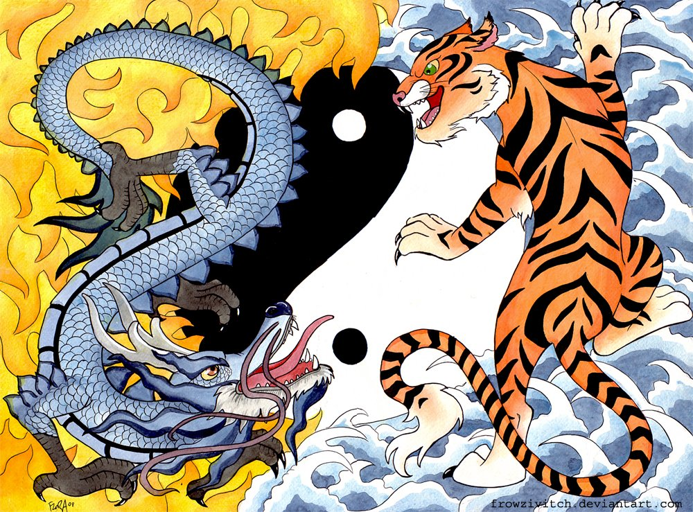Tiger vs Dragon by frowzivitch 1000x739
