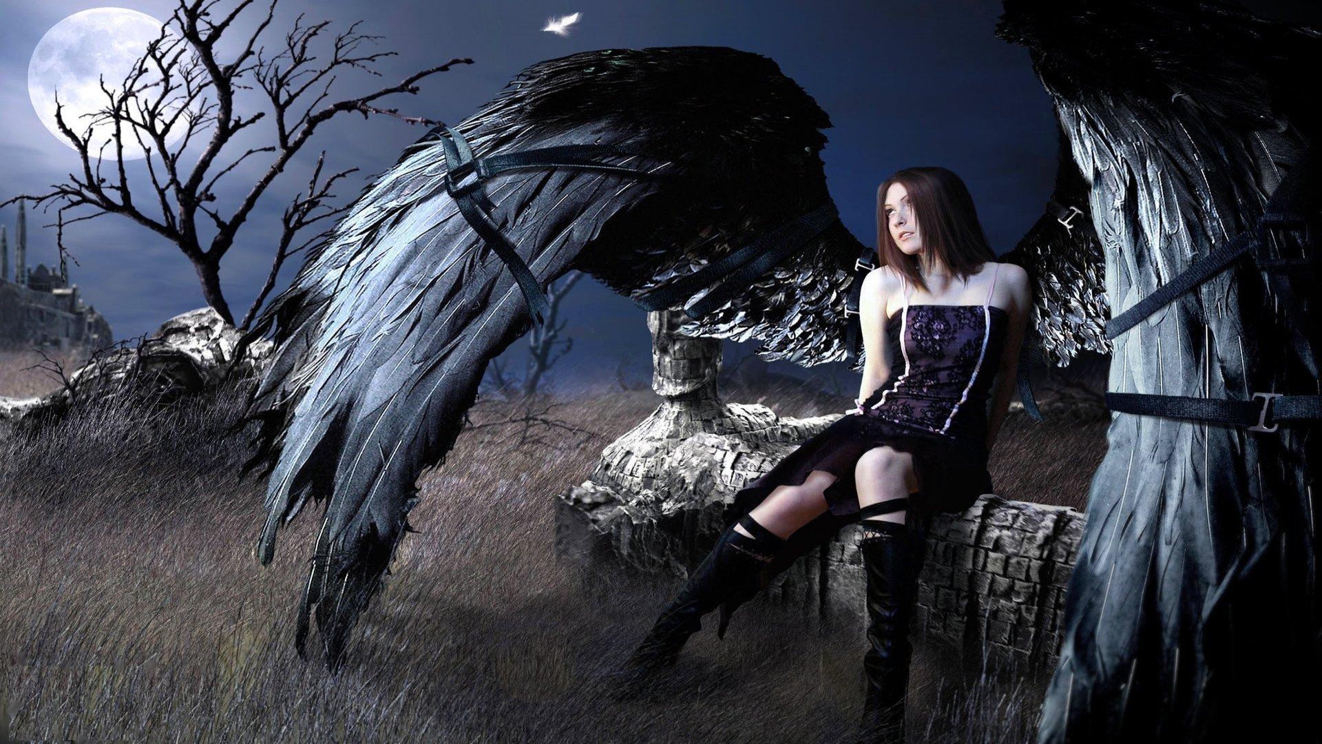 BLACK ANGEL   fantasy dark girl wallpaper background 1920x1080