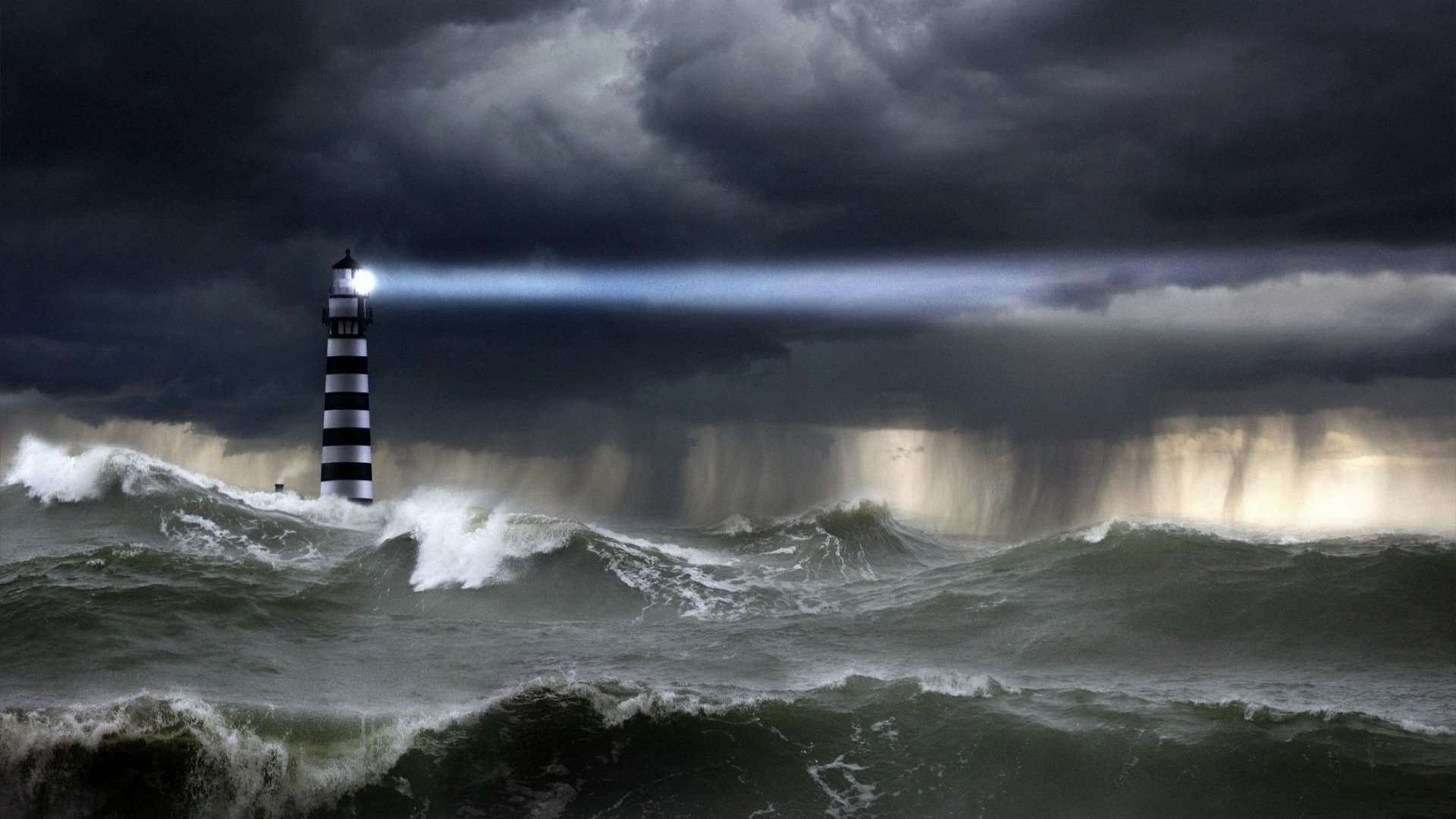 Download Lighthouse in the storm wallpaper 1920x1080