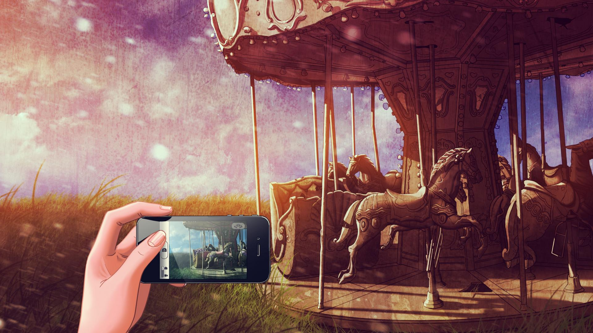amusement park cellphones artwork bracelets merry go round wallpaper 1920x1080