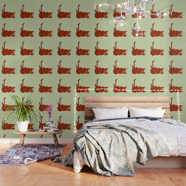 Silkscreen guitar print Wallpaper by ulyanaandreeva Society6 1500x1500