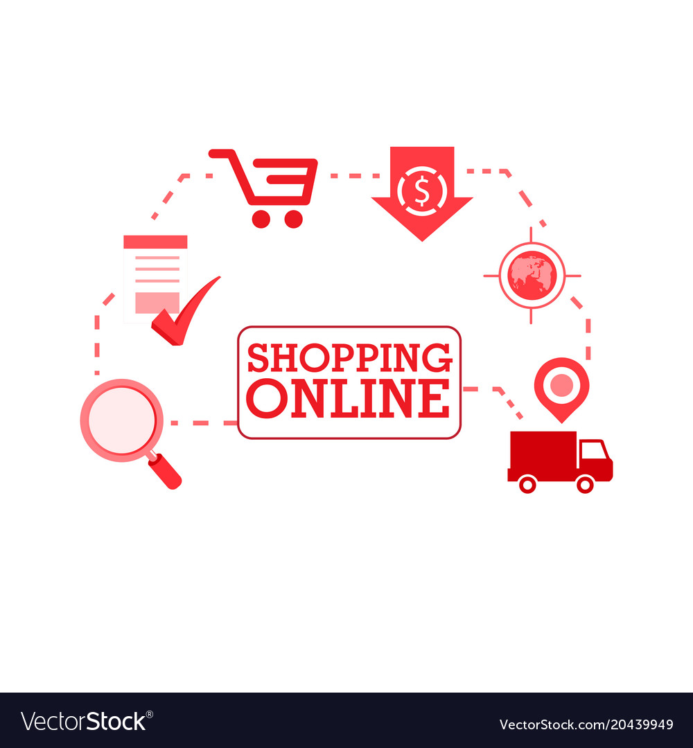 Shopping online shop red icon background im Vector Image 1000x1080