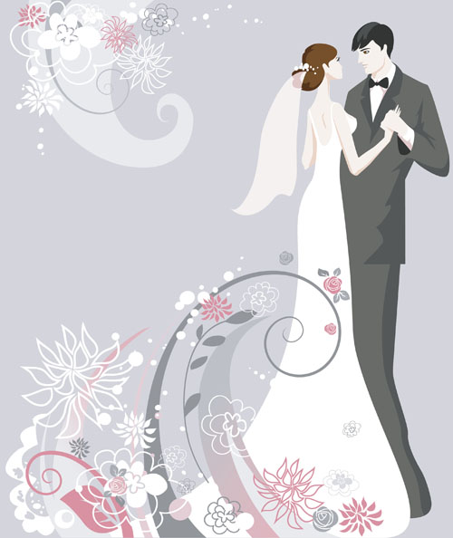 Wedding vector background 01   Vector Background Vector People 500x594