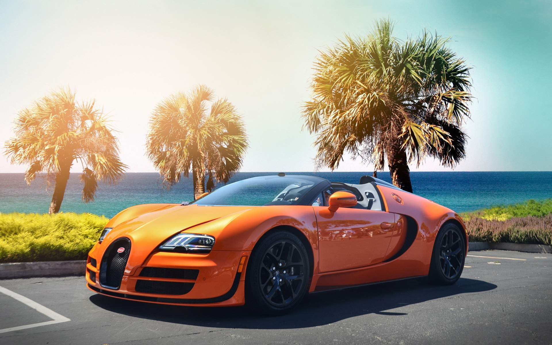 Bugatti Veyron Hypercar Orange Wallpaper   HD 1920x1200
