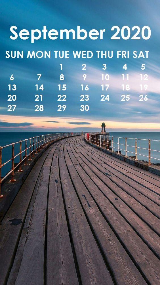 September 2020 iPhone Wallpaper Monthly Calendar Template 564x1002