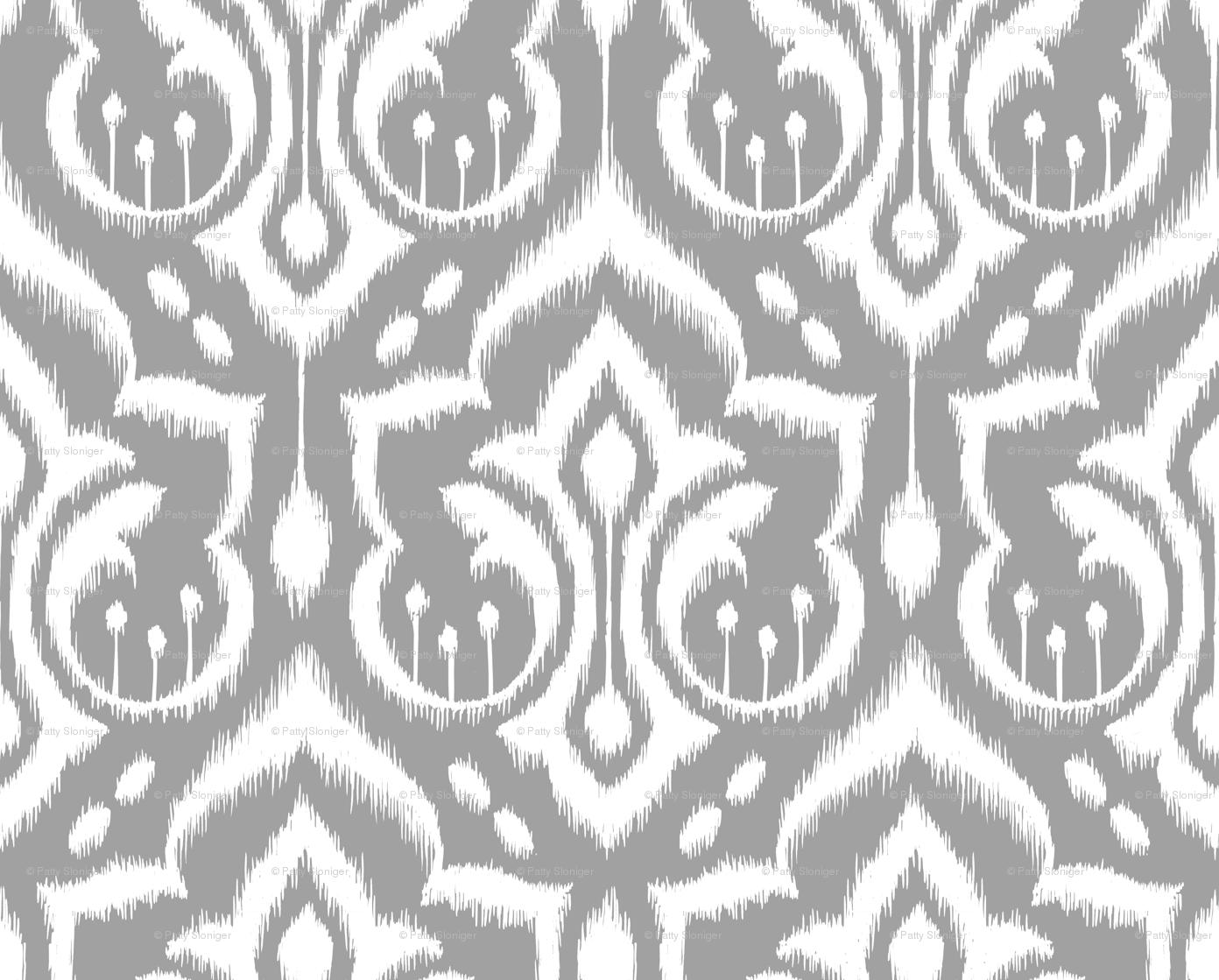 Grey And White Damask Wallpaper Ikat damask gr 1392x1119