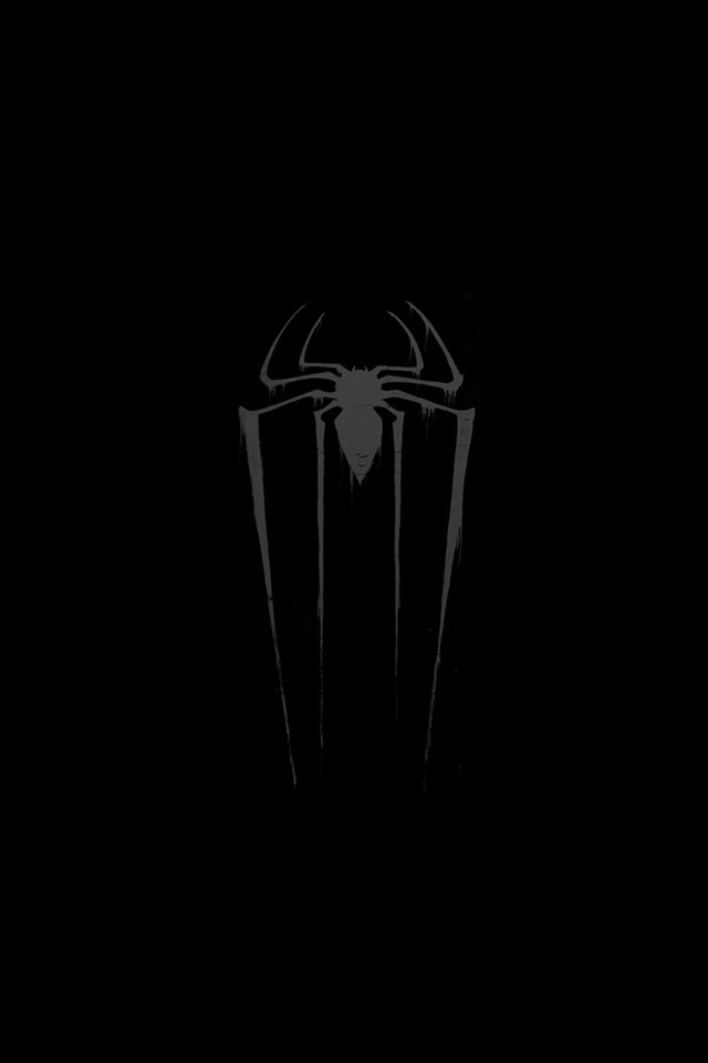 FREEIOS7 spider man logo in black   parallax HD iPhone iPad 640x960