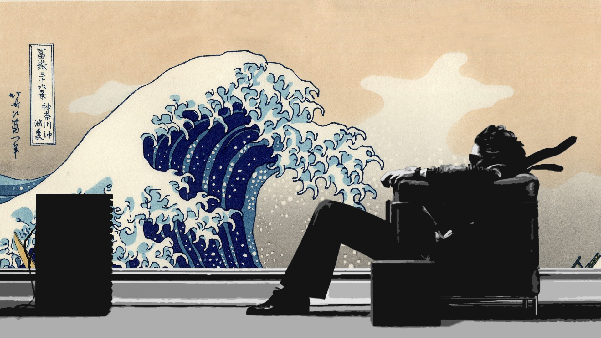 Japanese chairs artwork Maxell The Great Wave off Kanagawa wallpaper 1920x1080