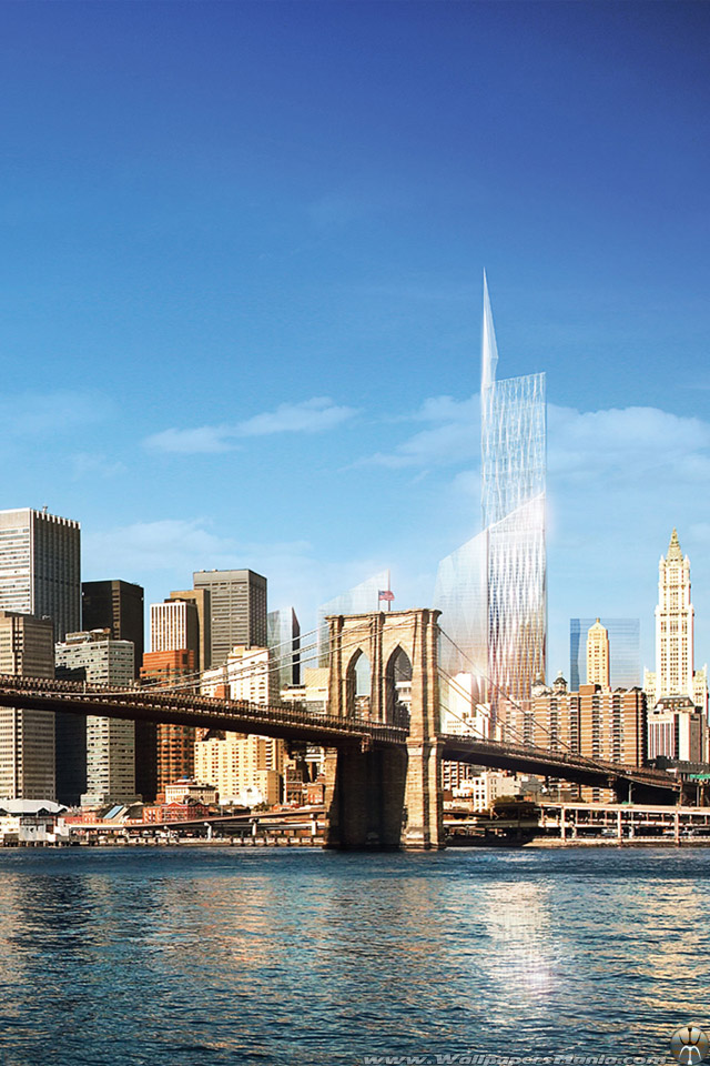Freedom Tower Brooklyn Bridge New York iPhone Wallpaper [640x960 640x960