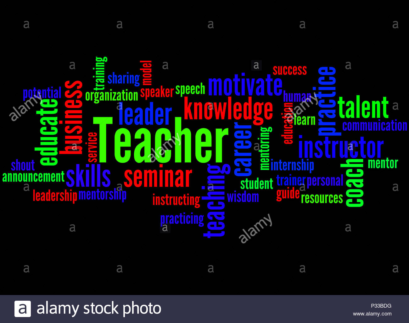 Teacher word cloud concept on black background Stock Photo 1300x1028