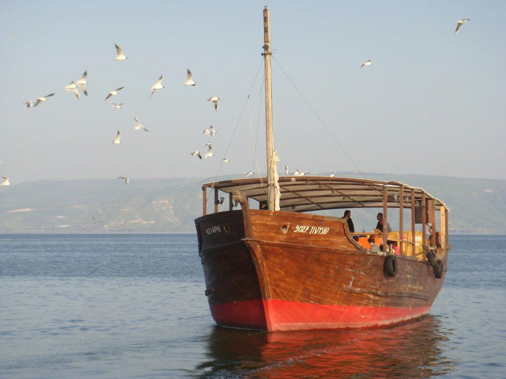 A wooden boat on the Sea of Galilee   the Kinneret Asia Travel 1024x768