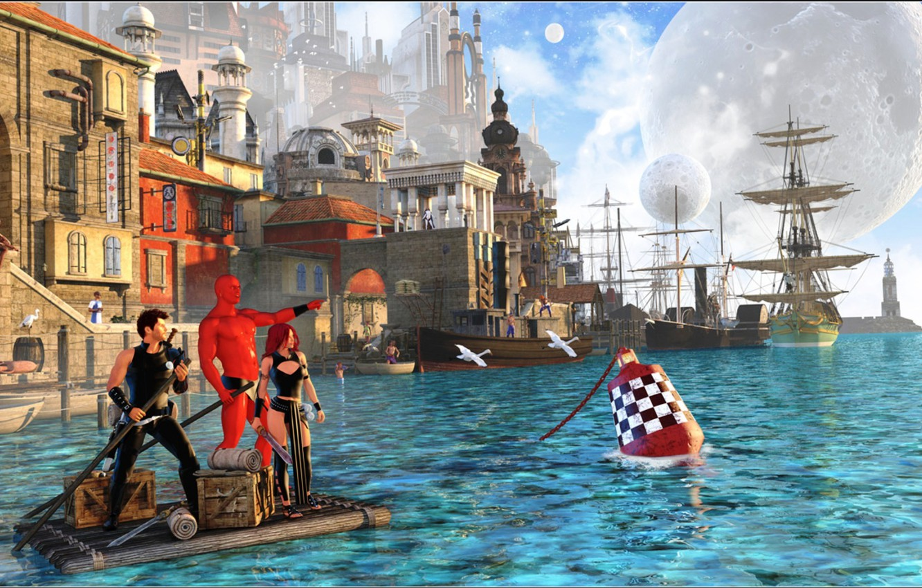 Wallpaper sea the sky water the city people ship planet 1332x850