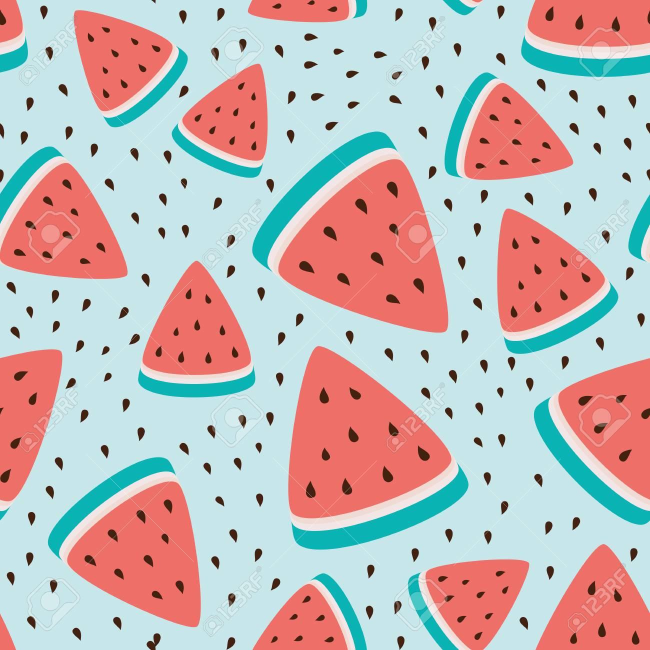 Wallpaper Seamless Pattern Of Watermelon Slices Summer Fresh 1300x1300