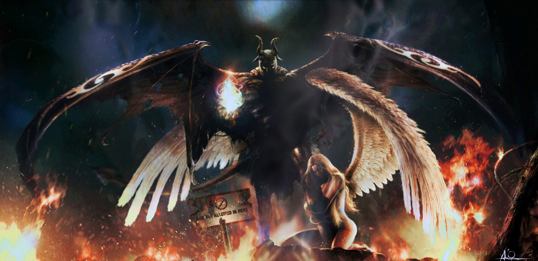 Wallpaper Fallen angel angel demon devil desktop wallpaper Anime 3000x1457