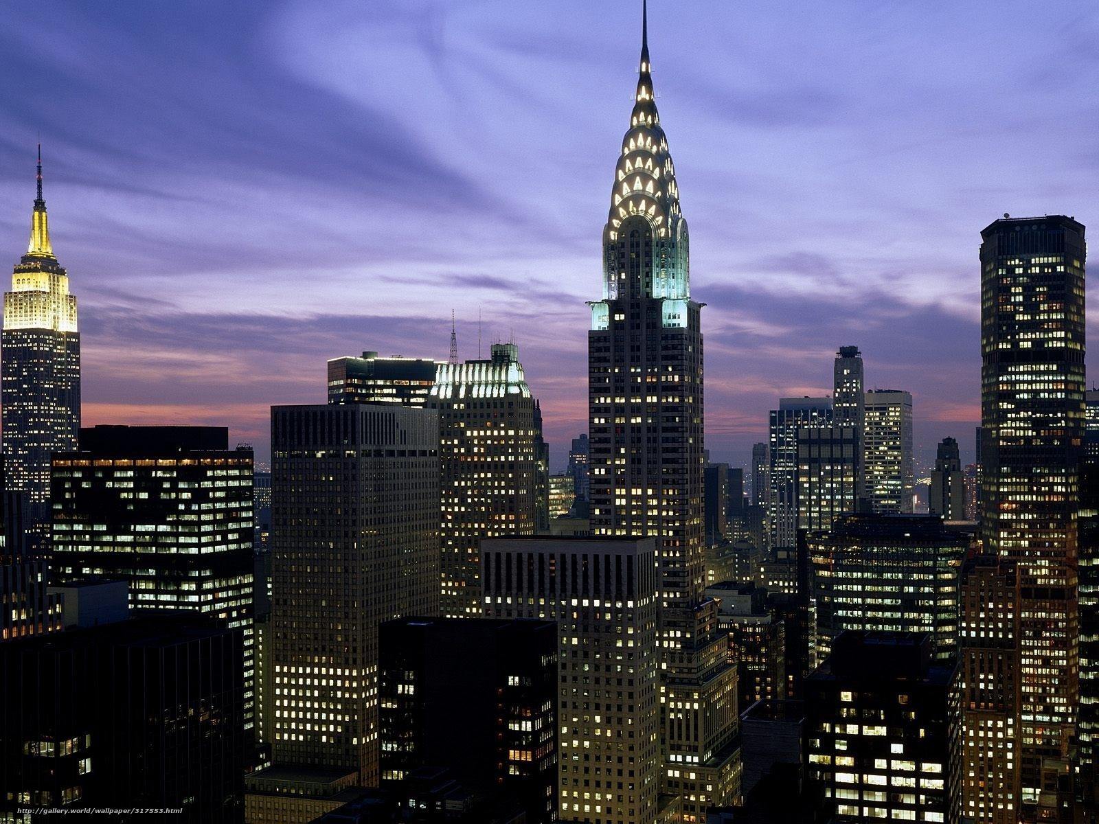 wallpaper night new york city chrysler building lights desktop 1600x1200