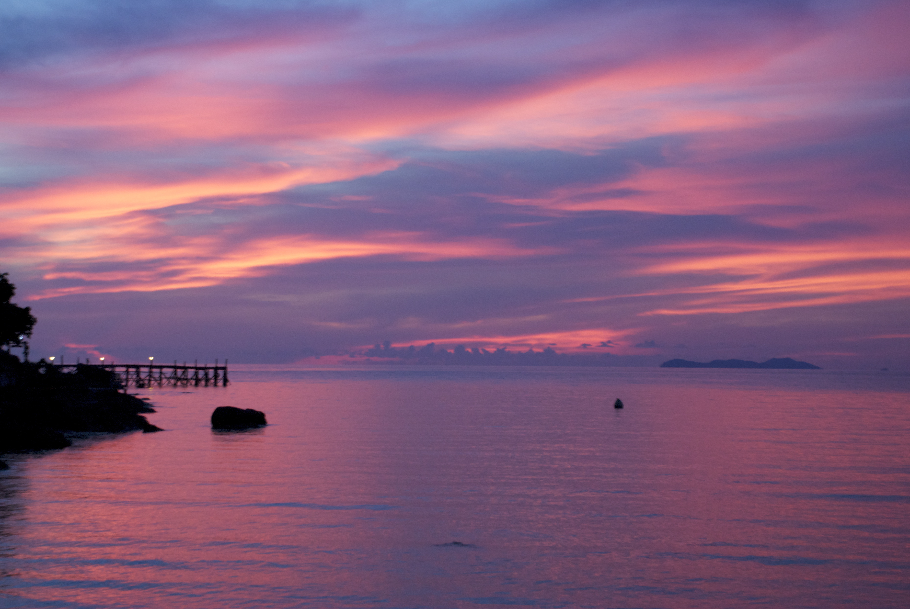 Pink sunset on the island of Koh Kood Thailand wallpapers and images 3719x2490