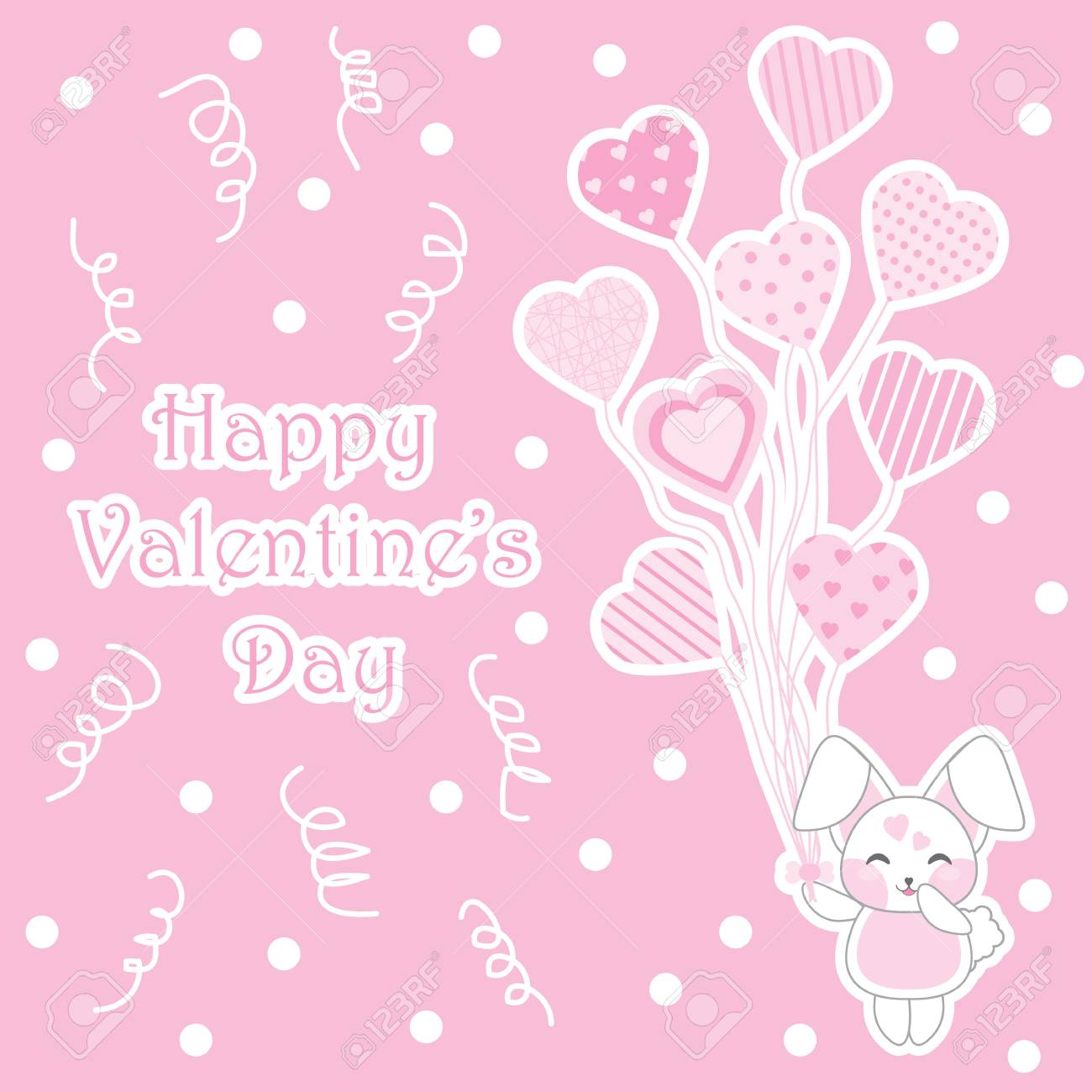 Valentine Illustration With Cute Baby Bunny Bring Love Balloons 1300x1300