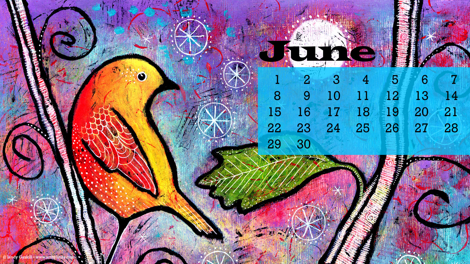 June Desktop Wallpaper Calendar   Art by Lindy 1600x900
