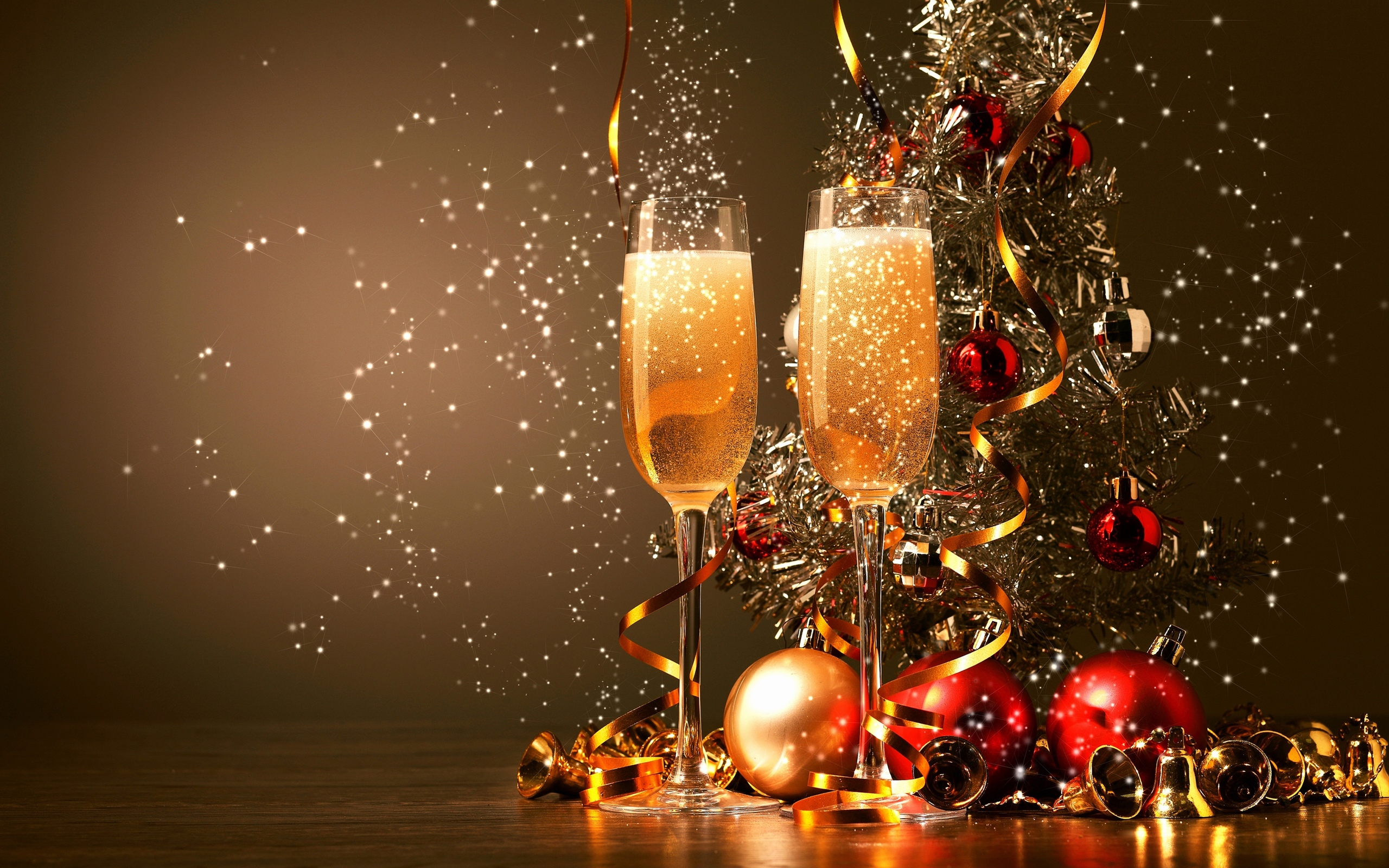Happy New Year 2016 Celebration Champagne Glasses Desktop Wallpaper 2560x1600