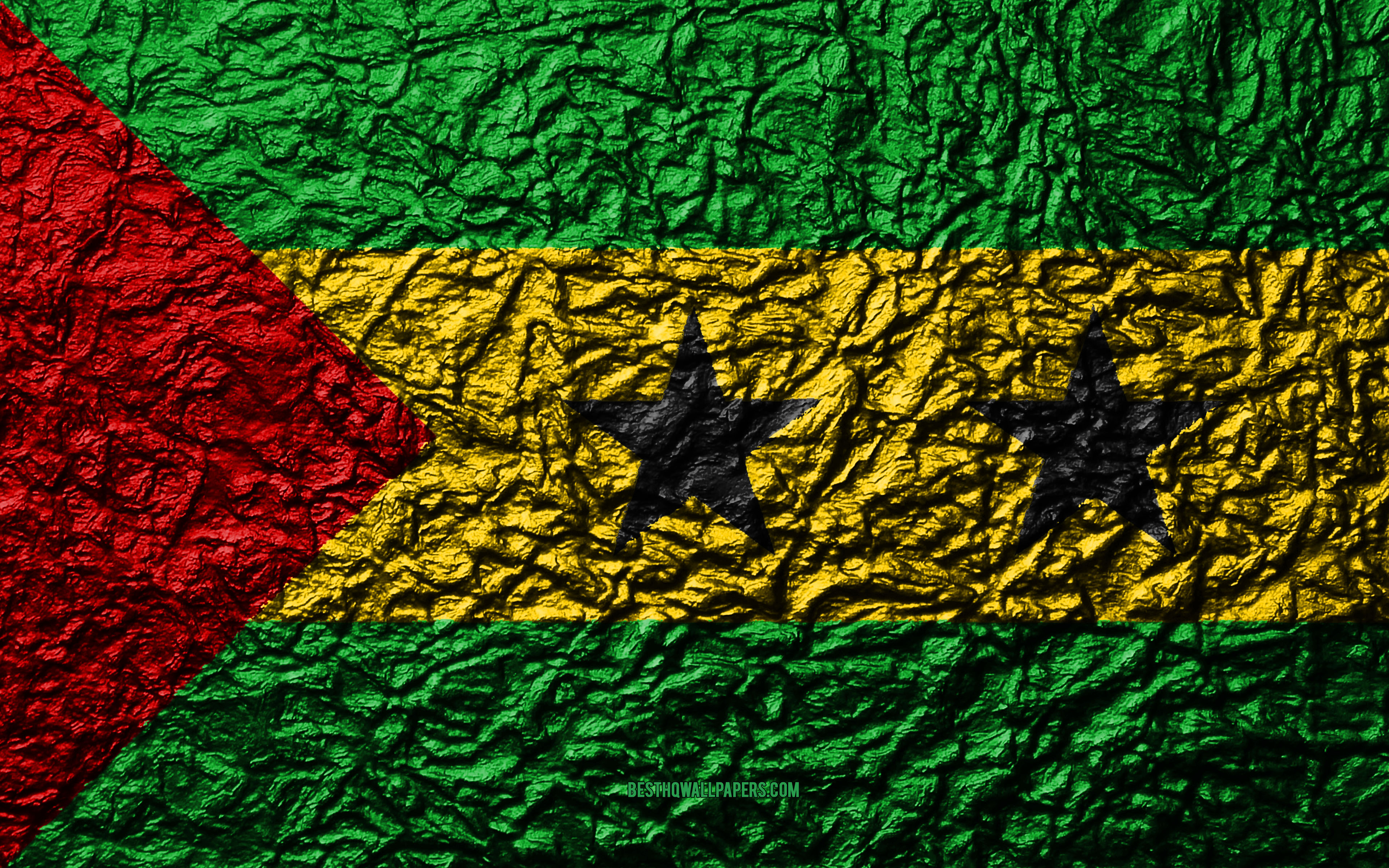Download wallpapers Flag of Sao Tome and Principe 4k stone 3840x2400