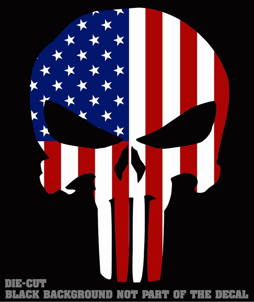 Punisher Skull American Flag Sticker Decal 4 Tactical Military US 841x1000