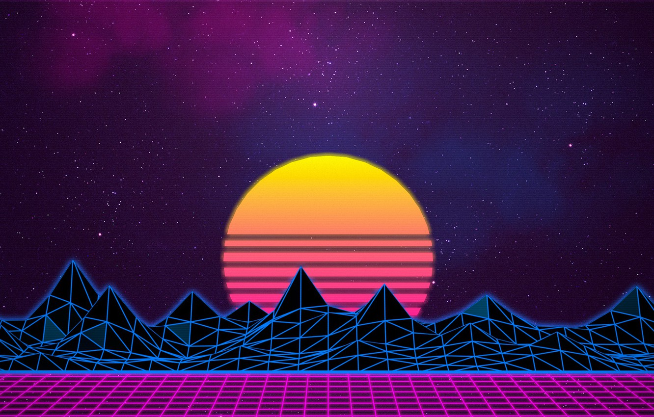Wallpaper The sun The sky Mountains Music Stars Neon Space 1332x850