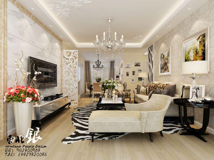 Exquisite living room   Damask cream wallpaper Silver pinstripe vase 736x552